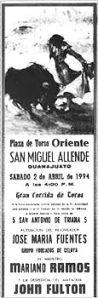 Cartel de su despedida en San Miguel de Allende, Guanajuato, México.